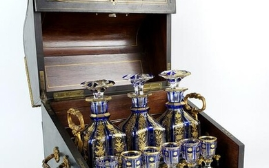 19th C. Bohemian & Boulle Tantalus Drinking Set