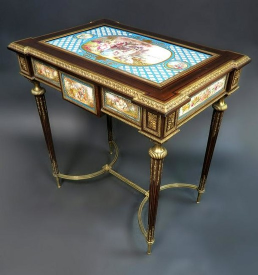 19th C. French Bronze Mounted Sevres Table