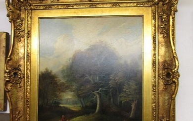 """19th CENTURY ENGLISH SCHOOL, oil on board """"The Forest Path"""",..."""