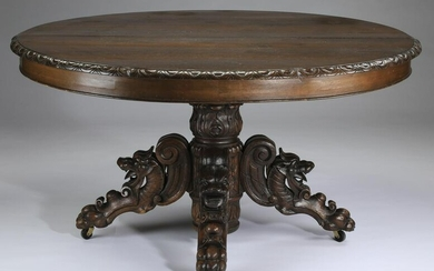 """19th c. carved oak table, 47""""w"""