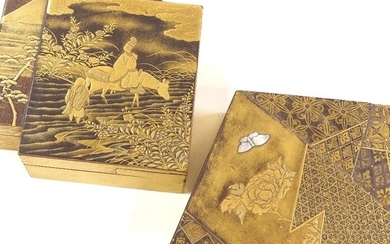 2 similar Japanese gilded and lacquered boxes, Meiji Period,...