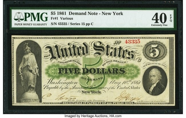 20002: Fr. 1 $5 1861 Demand Note PMG Extremely Fine 40