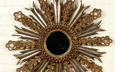 CARVED GILT WOOD AND GLASS STARBURST MIRROR