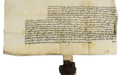 Henry VIII.- Chancery document relating to Arthur Key and James Alderley and Margaret his wife of a messuage with land in Almondbury [West Yorkshire], manuscript document, 28th November 1539.