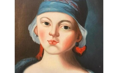 20thc Woman In Blue Hat Oil Painting