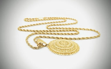 21K Gold Roped Necklace & Pendant