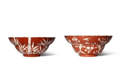 A CHINESE CORAL-GROUND 'BAMBOO' BOWL SIX CHARACTER DAOGUANG...