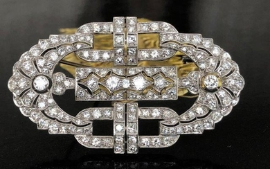 925 Platinum Brooch with 4.15 ct Diamond
