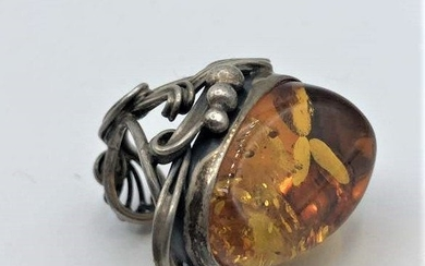 .925 Sterling Large Hand Crafted Designer Ring, Amber