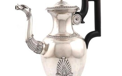 A 19th century French provincial silver coffee pot,...