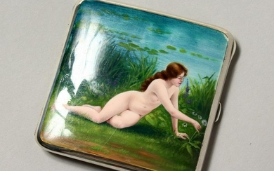 A .935 SILVER AND ENAMEL CIGARETTE CASE, the lid with a