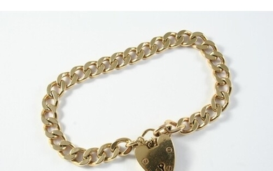 A 9CT GOLD FLAT CURB LINK BRACELET with padlock clasps, each...