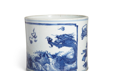 A BLUE AND WHITE 'DRAGONS AND ANTIQUES' BRUSH POT
