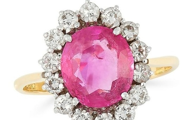 A BURMA NO HEAT PINK SAPPHIRE AND DIAMOND CLUSTER RING