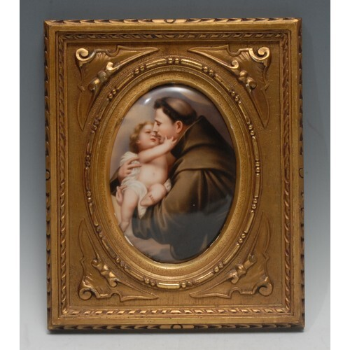 A Berlin KPM oval plaque, painted Wagner, signed , of Saint ...