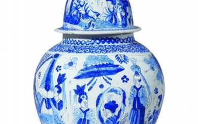 A Berlin faience vase and cover with blue chi ...