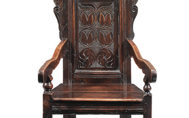 A Charles II joined oak panel-back open armchair Yorkshire, circa 1670