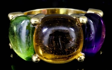 A Citrine, Peridot and Amethyst Ring, Modern, in 18ct...