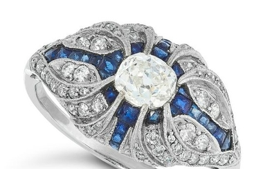 A DIAMOND AND SAPPHIRE RING in Art Deco design, set