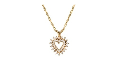A DIAMOND HEART SHAPED PENDANT, mounted in 14ct yellow gold,...