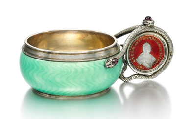 A FABERGÉ GEM-SET SILVER-GILT AND GUILLOCHÉ ENAMEL CHARKA, WORKMASTER ANDERS (ANTTI) NEVALAINEN, ST PETERSBURG, 1899-1903