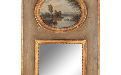 A French Painted and Parcel Gilt Trumeau Mirror