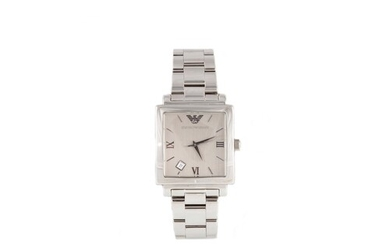 A GENT'S STAINLESS STEEL EMPORIO ARMANI WRIST WATCH, rectang...