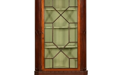 A GEORGE III MAHOGANY CORNER CABINET, LATE 18TH C with dent...