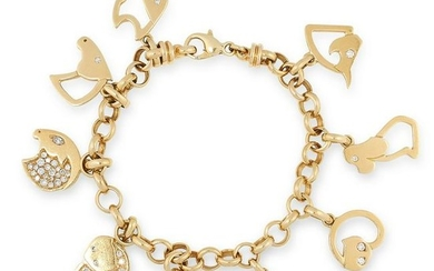A GOLD AND DIAMOND ANIMAL CHARM BRACELET, MARINA B in