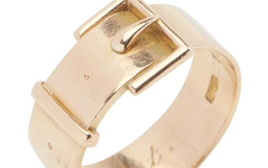 A GOLD BUCKLE RING BY COLEY BROTHERS