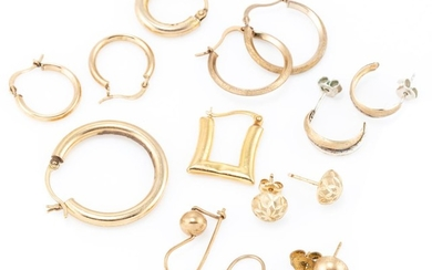 A GROUP OF 9CT GOLD EARRINGS; 3 pairs of hoops, 2 pairs of half round studs (2 without butterflies), a pair of beads with locking sh...