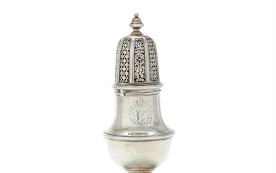 A George II silver vase shaped caster by John Chartier
