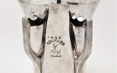 A LATE 19TH CENTURY IRISH SILVER METHER CUP, of usual taperi...
