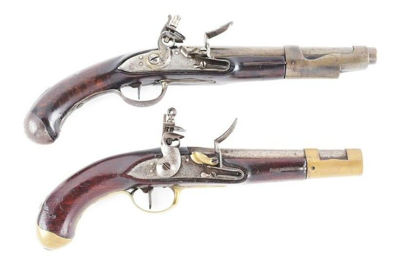 (A) LOT OF 2: FRENCH & ITALIAN FLINTLOCK PISTOLS.