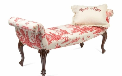 A Louis XV Style Upholstered Bench Height 31 x width 69