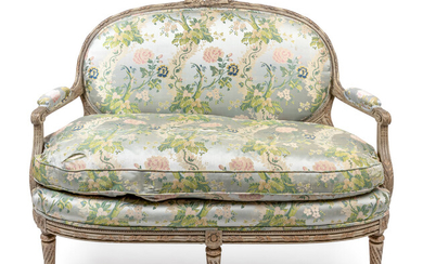 A Louis XVI Style Grey Painted Upholstered Settee