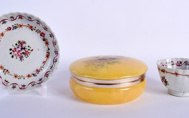 A PAINTED BOX AND COVER and an antique teabowl & saucer