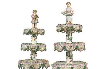 A PAIR OF MEISSEN TIERED CAKE STANDS, MID-19TH CENTURY