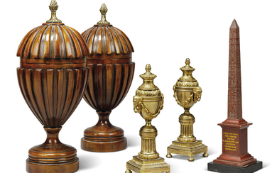 A PAIR OF ORMOLU CASSOLETTES, A RED MARBLE OBELISK AND A PAIR OF RIBBED MAHOGANY URNS AND COVERS, 19TH-20TH CENTURY