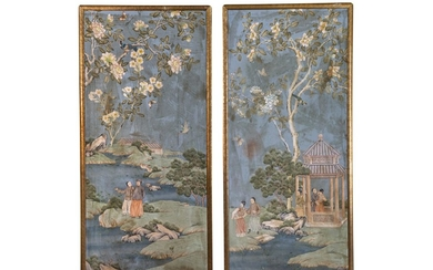 A Pair of Chinese Wallpaper Panels