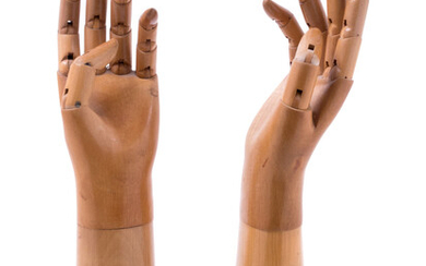 A Pair of French Carved and Articulated Wood Glove Molds