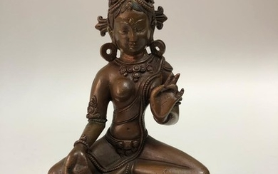 A Pala Revival Style Copper Alloy Figurine of Green Tara.