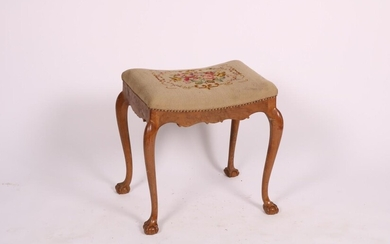A Queen-Anne style nutwood tabouret or foot stool, Dutch, ca. 1900.