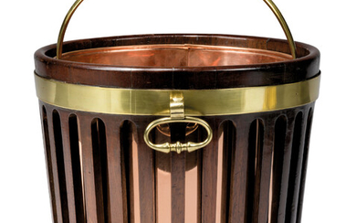 A REGENCY BRASS-BOUND MAHOGANY PEAT BUCKET