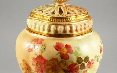 A ROYAL WORCESTER BLUSH IVORY POTPOURRI and two covers