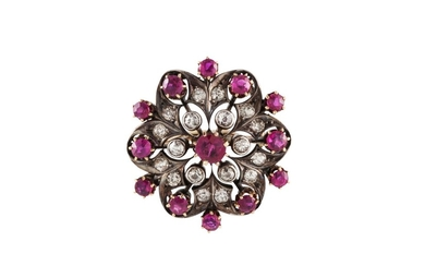 A RUBY AND DIAMOND FLOWER BROOCH, boxed, with rubies of 2.20...