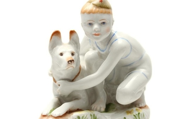 A SOVIET PORCELAIN FIGURINE: YOUNG BOARDER PATROL