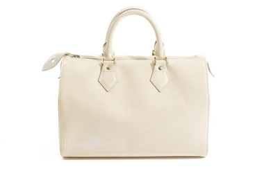 A SPEEDY 25 BY LOUIS VUITTON-Styled in ivory Epi leather with silver metal hardware, 28 x 19 x 15cm.