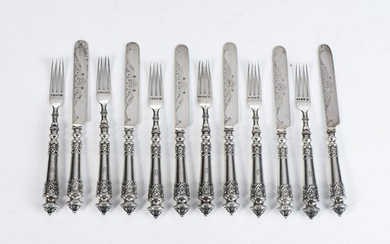 A VICTORIAN SILVER SET OF FRUIT KNIVES AND FORKS
