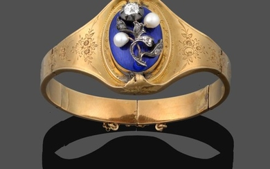 A Victorian Cultured Pearl, Diamond and Enamel Bangle, the floral...